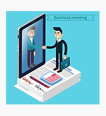 Business Meeting. Man with Suitcase. Business Man. Success in Business. Agreement Signing. Successful Negotiations. Isometric Concept Photographic Print