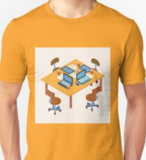 Office Workplace. Modern Workspace. Business Meeting. Team Working. Work Process. Isometric Concept. Laptop, Computer, Tablet T-Shirt