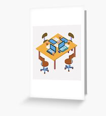 Office Workplace. Modern Workspace. Business Meeting. Team Working. Work Process. Isometric Concept. Laptop, Computer, Tablet Greeting Card