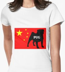 pug name silhouette on flag Womens Fitted T-Shirt
