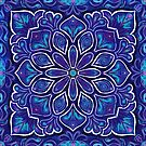Blue and Purple Mandala Tiled Repeat by WelshPixie