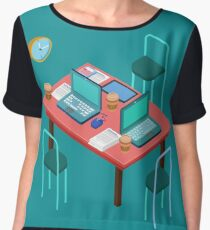 Office Workplace. Modern Workspace. Business Meeting. Team Working. Work Process. Isometric Concept. Laptop, Computer, Tablet Women's Chiffon Top