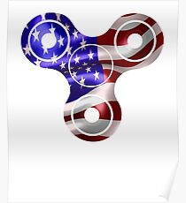Patriotic Fidget Spinner USA Flag - 4th of July American  Poster
