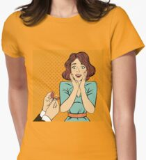 Marriage Proposal. Engagement. Surprised Woman. Pop Art Banner. Marry Me. Wedding Greeting Card. Happy Woman. Love Confession Womens Fitted T-Shirt