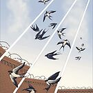 swallows in full company strength by CartoonKate