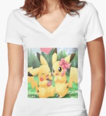 Cute Pikachu Women's Fitted V-Neck T-Shirt