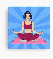 Woman in Yoga Pose. Woman Meditation. Yoga Woman. Lotus Pose. Girl Meditating. Pop Art Banner Canvas Print