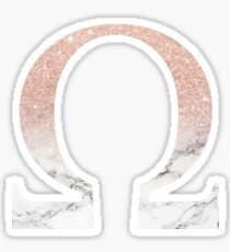 Rose Gold Glitter and Marble Omega Sticker