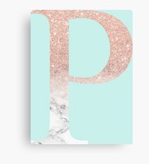 Rose Gold Glitter and Marble Rho P Canvas Print