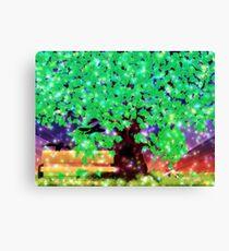 Fantasy oak tree with ravens Canvas Print