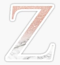 Rose Gold Glitter and Marble Zeta Z Sticker
