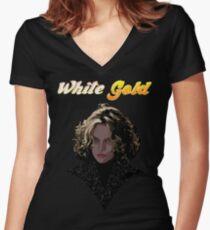 White Gold Women's Fitted V-Neck T-Shirt