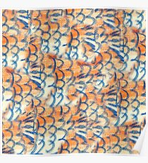 Orange and Blue Fish Scale Design Poster