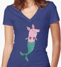 Mermaid Pig - Purple  Women's Fitted V-Neck T-Shirt