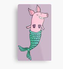 Mermaid Pig - Purple  Metal Print