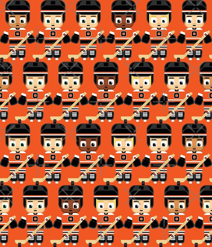 Ice Hockey Orange and Black - Super cute sports stars by boxedspaper