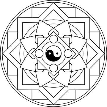 Dark Spiral Flower Mandala by JuanBuel