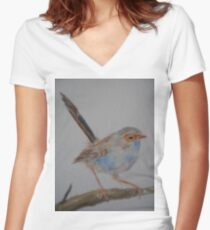 Bue Wren Youngster Women's Fitted V-Neck T-Shirt
