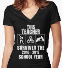 This Teacher Survived the 2016-2017 School Year Women's Fitted V-Neck T-Shirt