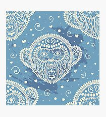 Tribal pattern with monkey Photographic Print