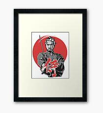 Japanese samurai with sword tshirt etc. Framed Print