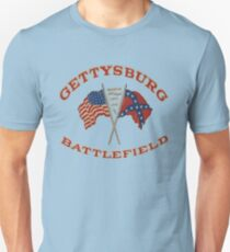 Vintage Gettysburg Battlefield And Flags Image T-Shirt