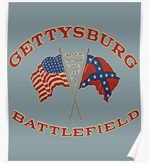 Vintage Gettysburg Battlefield And Flags Image Poster