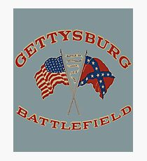 Vintage Gettysburg Battlefield And Flags Image Photographic Print