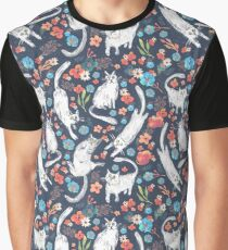 Cats and flowers pattern Graphic T-Shirt