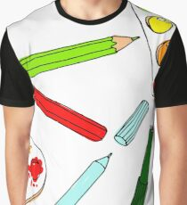 Pencils, paint,  brush and palette pattern Graphic T-Shirt
