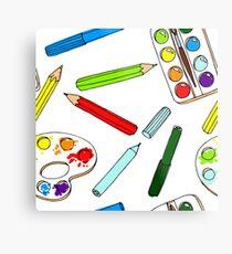 Pencils, paint,  brush and palette pattern Metal Print
