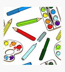 Pencils, paint,  brush and palette pattern Photographic Print