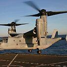 Ein MV-22 Osprey landet an Bord der USNS Robert E. Peary. von StocktrekImages