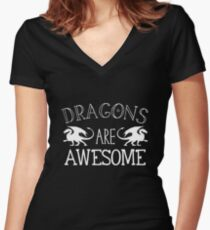 Dragons are AWESOME in white Women's Fitted V-Neck T-Shirt
