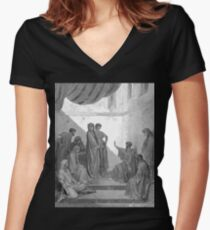 Bible New Testament Gustave Dore or Doré St Peter at the House of Cornelius Women's Fitted V-Neck T-Shirt