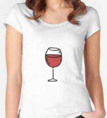 glass of red wine doodle icon Women's Fitted Scoop T-Shirt