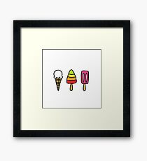 ice cream doodle icons Framed Print