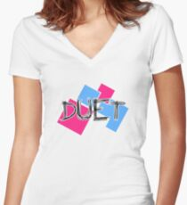 Duet Typography Women's Fitted V-Neck T-Shirt