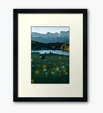 Sunrise at a forest lake under the mountains - landscape photography Framed Print