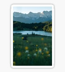 Sunrise at a forest lake under the mountains - landscape photography Sticker