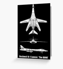 BONE, Rockwell B-1 Lancer,  supersonic variable-sweep wing, heavy bomber used by the United States Air Force (USAF). Greeting Card