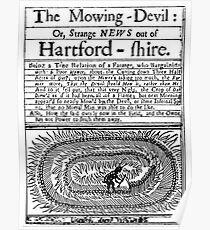 """CROP CIRCLE, UFO, ALIEN, 1678 pamphlet on the """"Mowing-Devil"""". Poster"""