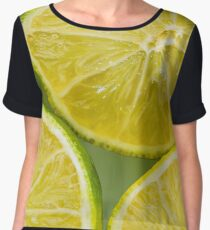 Lemon print background Chiffon Top