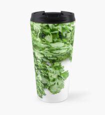 Fresh and organic Coriander (Coriandrum sativum) on white background Travel Mug
