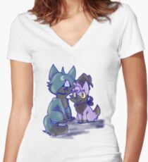 Lorrin and Moon stuff Women's Fitted V-Neck T-Shirt
