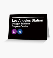 Los Angeles Pro Sports Venues Subway Sign Greeting Card