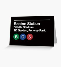 Boston Pro Sports Venue Subway Sign Greeting Card