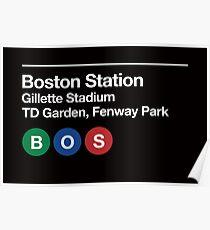 Boston Pro Sports Venue Subway Sign Poster
