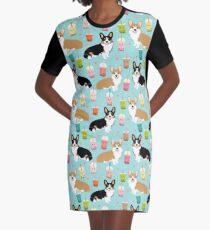 Corgi welsh corgi bubble tea boba dog dogs dog breed dog pattern pet friendly Graphic T-Shirt Dress