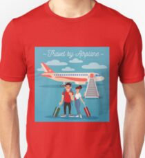 Airplane Travel. Travel Banner. Tourism Industry. Active People. Girl with Baggage. Man with Baggage. Happy Couple T-Shirt